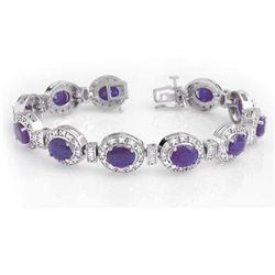Genuine 16.0 ctw Tanzanite & Diamond Bracelet 14K Gold