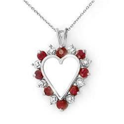 Genuine 1.01 ctw Ruby & Diamond Pendant White Gold