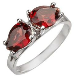 Genuine 2.25 ctw Garnet Ring 10K White Gold