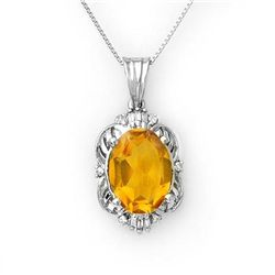 Genuine 5.80 ctw Citrine & Diamond Necklace White Gold