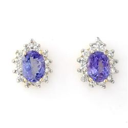 Genuine 4.25 ctw Tanzanite & Diamond Earrings 14K Gold