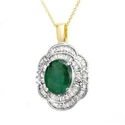 Genuine 4.60 ctw Emerald &amp; Diamond Pendant Yellow Gold