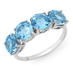 Genuine 3.66 ctw Blue Topaz Ring 10K White Gold