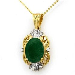 Genuine 5.88 ctw Emerald & Diamond Pendant Yellow Gold