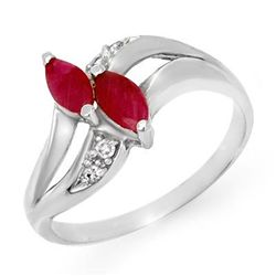 Genuine 0.62 ctw Ruby & Diamond Ring 10K White Gold