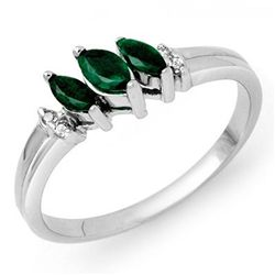 Genuine 0.29 ctw Emerald & Diamond Ring 10K White Gold