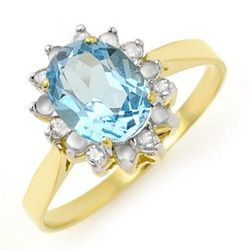 Genuine 1.69 ctw Blue Topaz & Diamond Ring 10K Gold