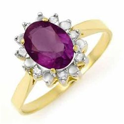 Genuine 1.26 ctw Amethyst & Diamond Ring 10K White Gold