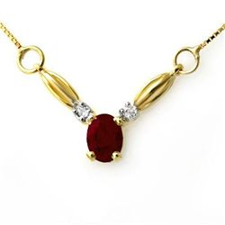 Genuine 1.30 ctw Ruby & Diamond Necklace Yellow Gold