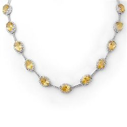 Genuine 37.0 ctw Citrine & Diamond Necklace White Gold