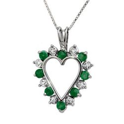 Genuine 0.80 ctw Emerald & Diamond Pendant White Gold-1140D0EME-W