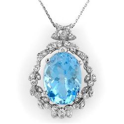Genuine 18.8 ctw Blue Topaz & Diamond Necklace 14K Gold