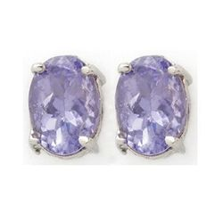Genuine 2.0 ctw Tanzanite Stud Earrings 14K White Gold