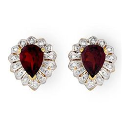 Genuine 2.20 ctw Garnet Stud Earrings 10K Yellow Gold