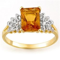 Genuine 2.12 ctw Citrine & Diamond Ring 10K Yellow Gold