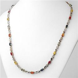 Genuine 9.02 ctw Multi-Sapphire & Diamond Necklace Gold