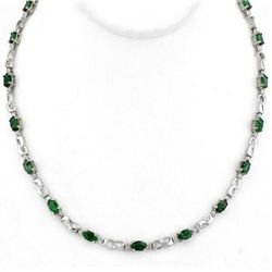 Genuine 7.02 ctw Emerald &amp; Diamond Necklace White Gold