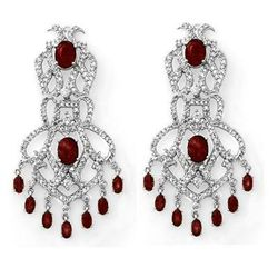 Genuine 17.5 ctw Ruby & Diamond Earrings White Gold
