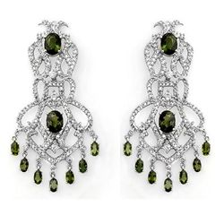 Genuine 17.3ct Green Tourmaline & Diamond Earrings Gold