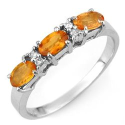 Genuine 1.33 ctw Orange Sapphire & Diamond Ring 10K White Gold