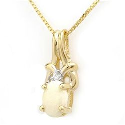 Genuine 0.50ctw Opal & Diamond Pendant 10K Yellow Gold