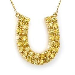 Genuine 2.0 ctw Yellow Sapphire Necklace 10K Yellow Gold