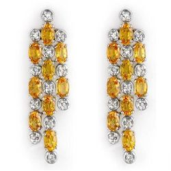 Genuine 6.33ctw Yellow Sapphire & Diamond Earrings Gold