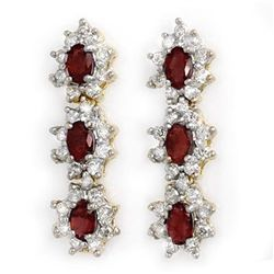 Genuine 5.63 ctw Ruby & Diamond Earrings Yellow Gold