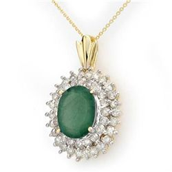Genuine 10.11ctw Emerald & Diamond Pendant Yellow Gold