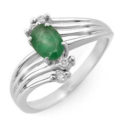 Genuine 0.65 ctw Emerald & Diamond Ring 10K White Gold