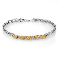 Genuine 2.0 ctw Yellow Sapphire Bracelet 10K White Gold