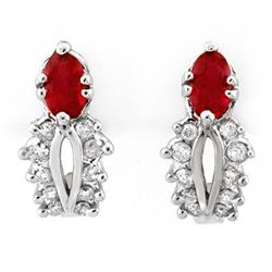 Genuine 0.90 ctw Red Sapphire & Diamond Earrings Gold