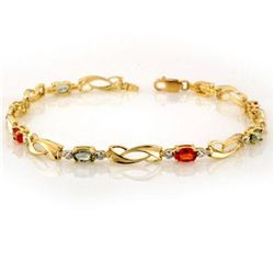 Genuine 2.62 ctw Multi-Sapphire & Diamond Bracelet Gold
