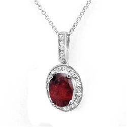 Genuine 1.02 ctw Ruby & Diamond Pendant White Gold