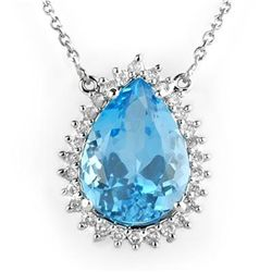Genuine 14.8 ctw Blue Topaz & Diamond Necklace 14K Gold