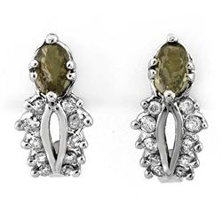 Genuine 0.95 ctw Green Sapphire & Diamond Earrings Gold