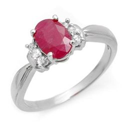 Genuine 1.26 ctw Ruby &amp; Diamond Ring 10K White Gold