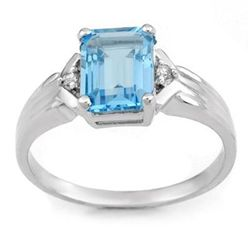 Genuine 2.03 ctw Blue Topaz &amp; Diamond Ring 10K Gold