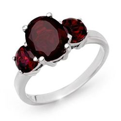Genuine 3.05 ctw Garnet Ring 10K White Gold
