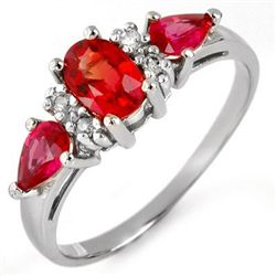 Genuine 1.33 ctw Red Sapphire &amp; Diamond Ring 10K White Gold