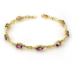 Genuine 3.73 ctw Amethyst & Diamond Bracelet 10K Gold
