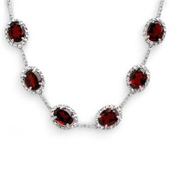 Genuine 41.0 ctw Garnet & Diamond Necklace White Gold