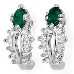 Genuine 0.85 ctw Emerald & Diamond Earrings White Gold