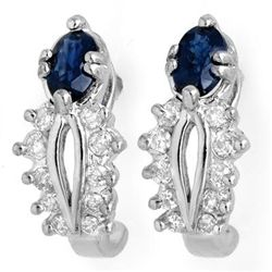Genuine 0.90 ctw Blue Sapphire & Diamond Earrings Gold