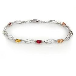 Genuine 3.02 ctw Multi-Sapphire & Diamond Bracelet Gold
