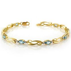 Genuine 2.02 ctw Blue Topaz & Diamond Bracelet 10K Gold