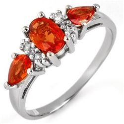Genuine 1.33 ctw Orange Sapphire & Diamond Ring Gold