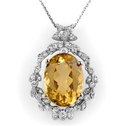 Genuine 12.8 ctw Citrine & Diamond Necklace White Gold