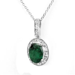 Genuine 1.02 ctw Emerald &amp; Diamond Pendant White Gold