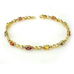 Genuine 2.51 ctw Multi-Sapphire & Diamond Bracelet Gold